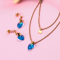 18k Gold Plated    Crystal Heart Necklace Earring Set -SSCSG142-31868