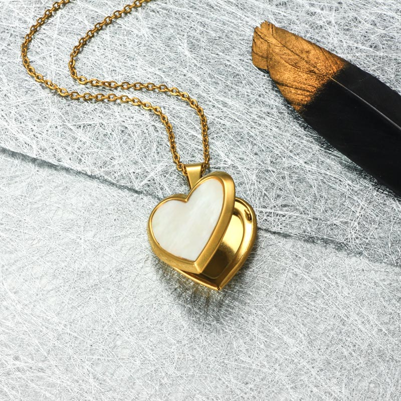 Stainless Steel 18k Gold Plated Locket Pendant Necklace -SSNEG143-32408