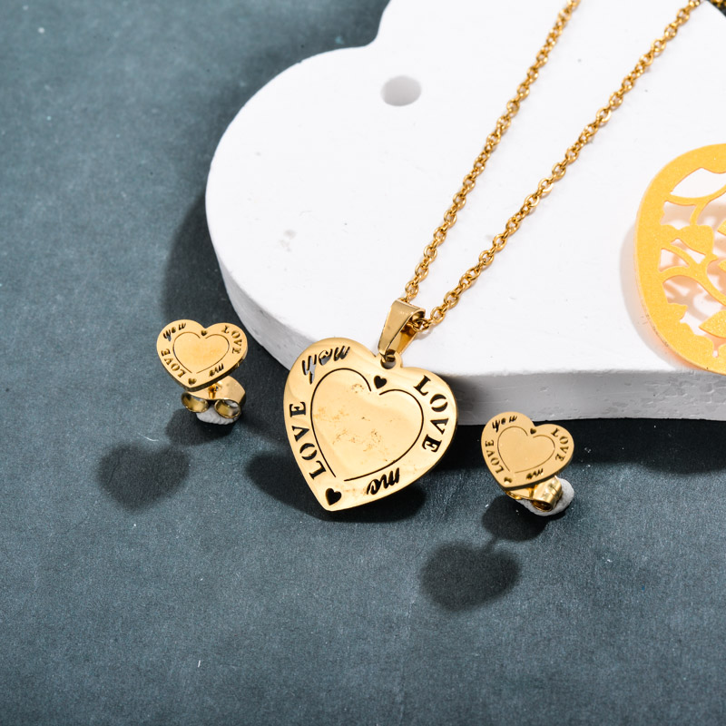 Stainless Steel Love Heart Jewelry Sets -SSCSG143-32366