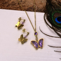 18k Gold Plated Crystal Butterfly  Necklace Earring Set -SSCSG142-31846