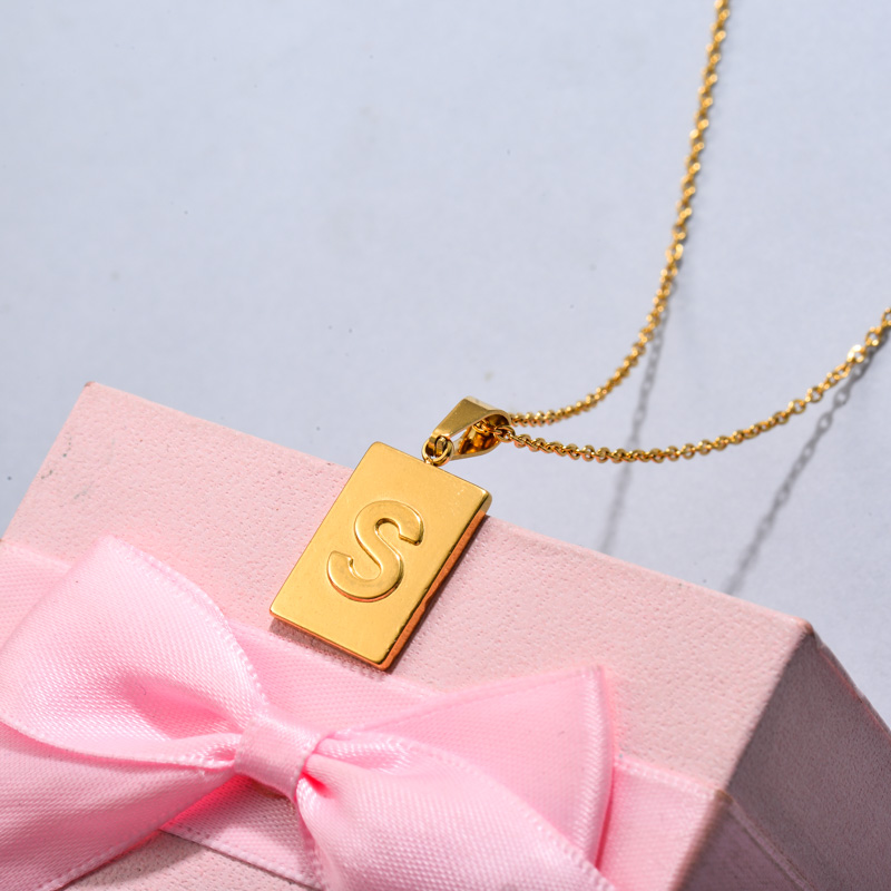 18k Gold Plated Personalized Rectangle Initial Letter Necklace SSNEG143-32454
