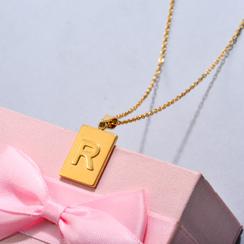 18k Gold Plated Personalized Rectangle Initial Letter Necklace SSNEG143-32453