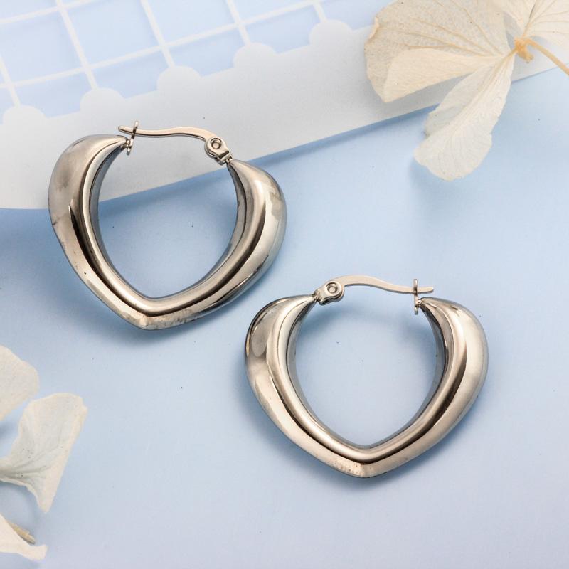 Stainless Steel Steel Color Minimalist Style Hoop Earrings -SSEGG143-32389