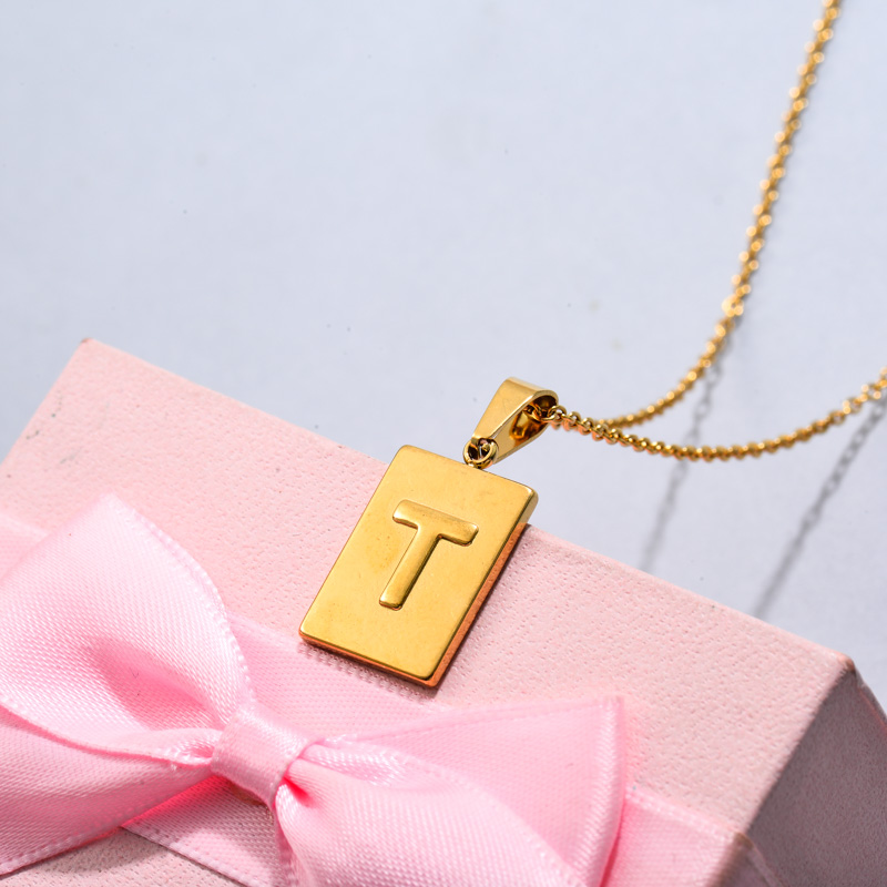 18k Gold Plated Personalized Rectangle Initial Letter Necklace SSNEG143-32455