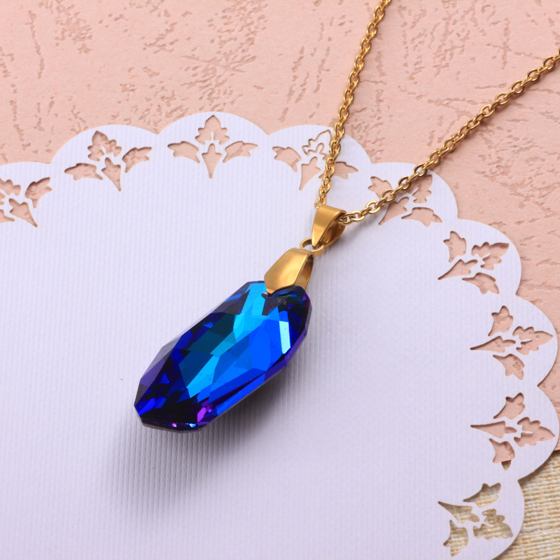 Stainless Steel Crystal Pendant Necklace -SSNEG173-32330
