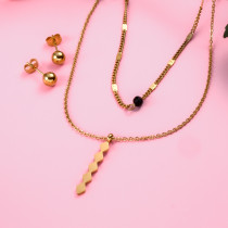 18k Gold Plated  Tube Pendant Layered Necklace Earring Set -SSCSG142-31864