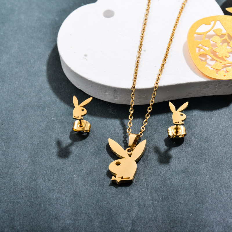 Stainless Steel 18k Gold Plated Rabbit Jewelry Sets -SSCSG143-32367