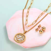 18k Gold Plated Zodiac Mother pearl Pendant Multi Layered Necklace Sets -SSCSG142-31957