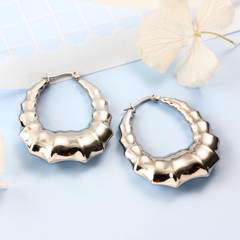 Stainless Steel Steel Color Minimalist Style Hoop Earrings -SSEGG143-32382