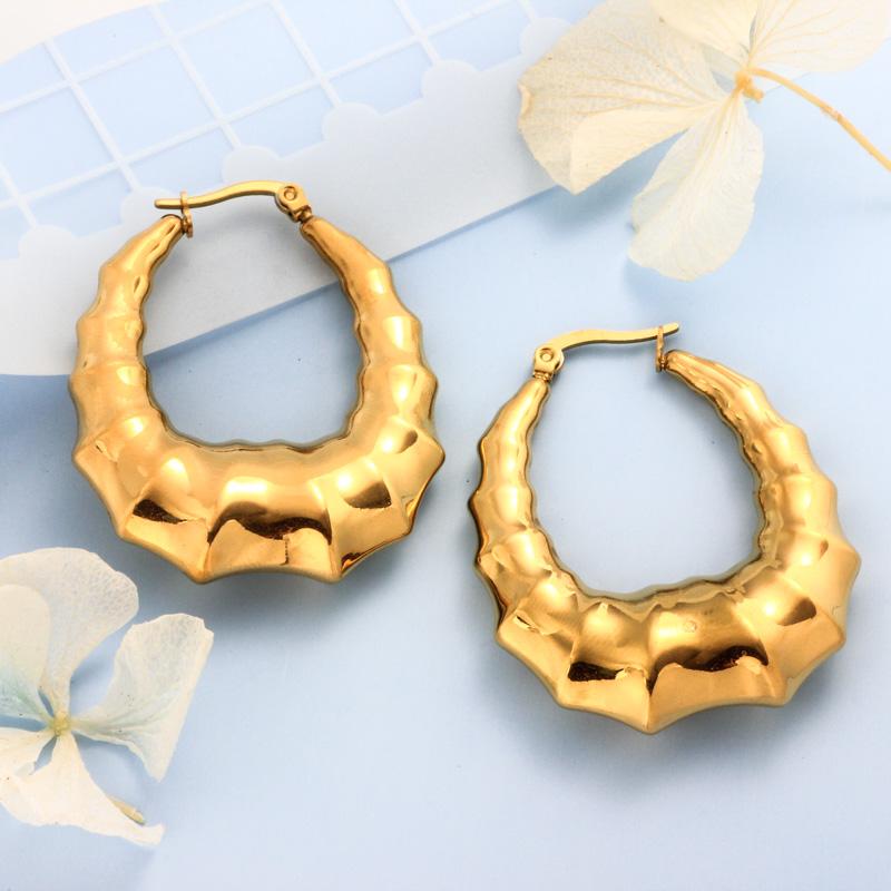 Stainless Steel 18K Gold Plated Minimalist Style Hoop Earrings -SSEGG143-32392