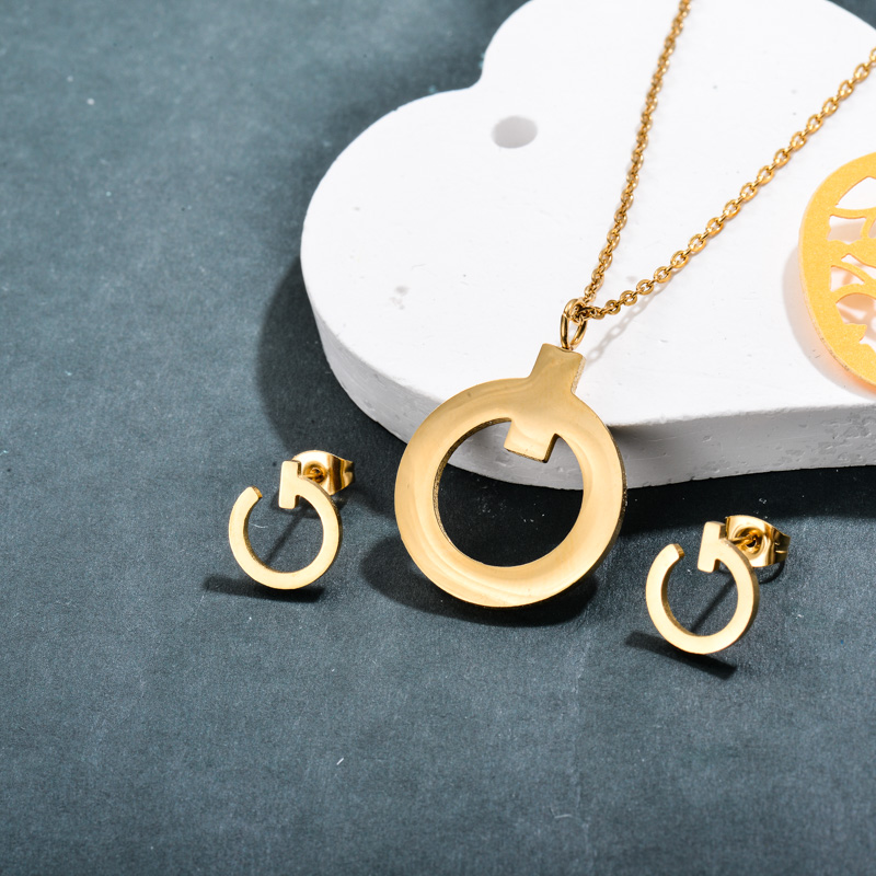 Stainless Steel 18k Gold Plated Circle Jewelry Sets -SSCSG143-32365
