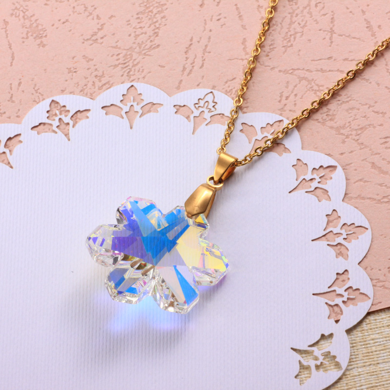 Stainless Steel Crystal Pendant Necklace -SSNEG173-32335