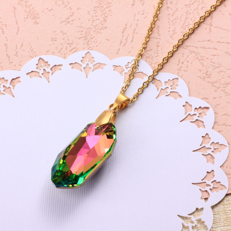 Stainless Steel Crystal Pendant Necklace -SSNEG173-32329