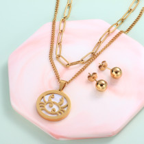 18k Gold Plated Zodiac Mother pearl Pendant Multi Layered Necklace Sets -SSCSG142-31958