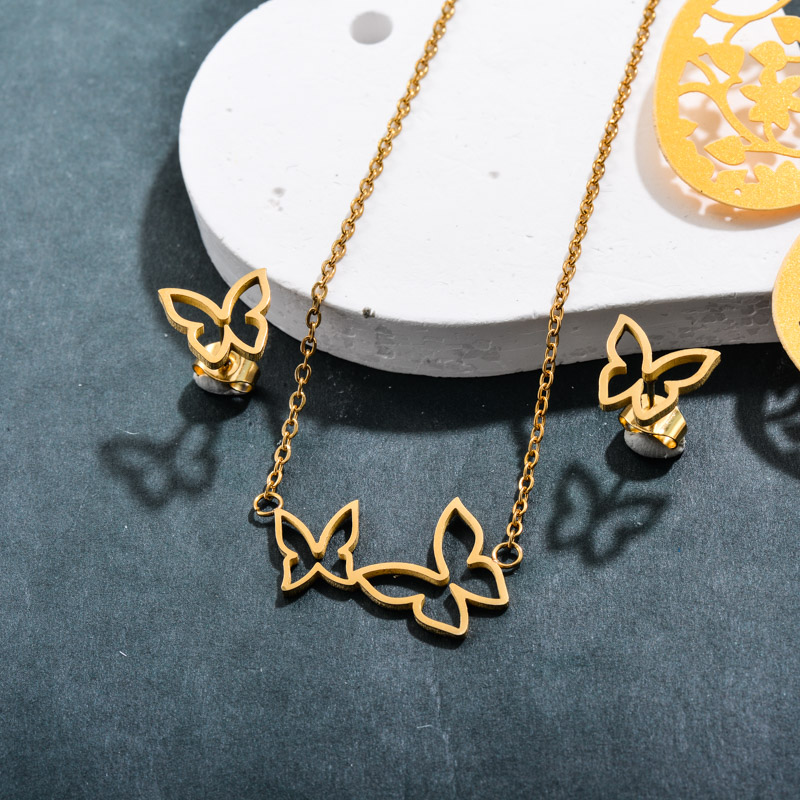 Stainless Steel 18k Gold Plated Butterfly Jewelry Sets -SSCSG143-32374