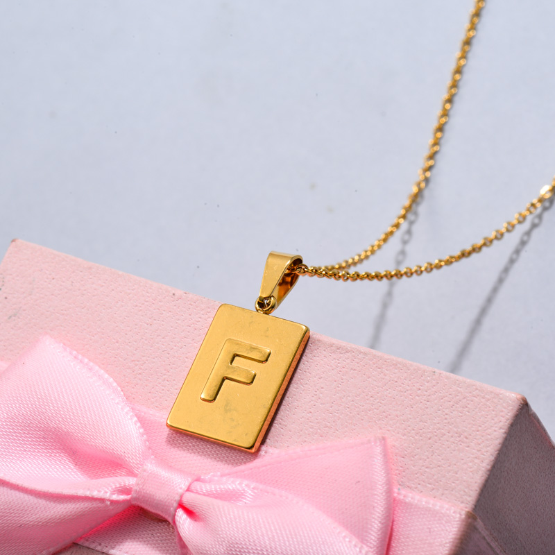 18k Gold Plated Personalized Rectangle Initial Letter Necklace SSNEG143-32441