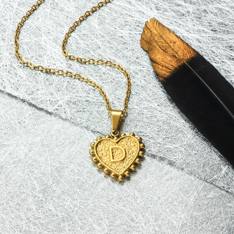 18k Gold Plated Personalized Heart Initial Letter Necklace SSNEG143-32413