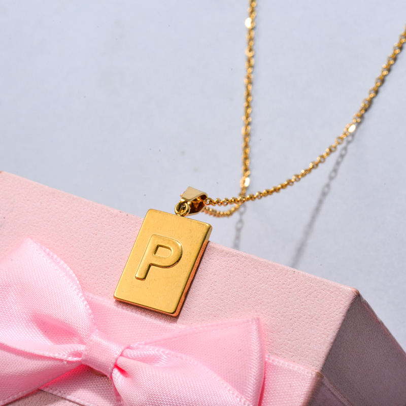 18k Gold Plated Personalized Rectangle Initial Letter Necklace SSNEG143-32451