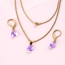 18k Gold Plated Crystal Layered Necklace Set -SSCSG142-31893
