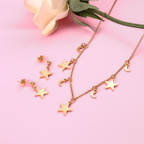 18k Gold Plated   Moon and Star Necklace Earring Set -SSCSG142-31867