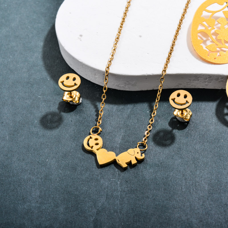 Stainless Steel Heart  Elephant Smile Jewelry Sets -SSCSG143-32372