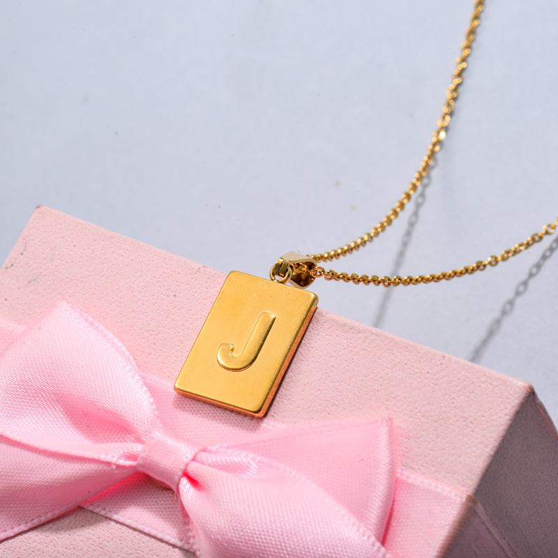 18k Gold Plated Personalized Rectangle Initial Letter Necklace SSNEG143-32445