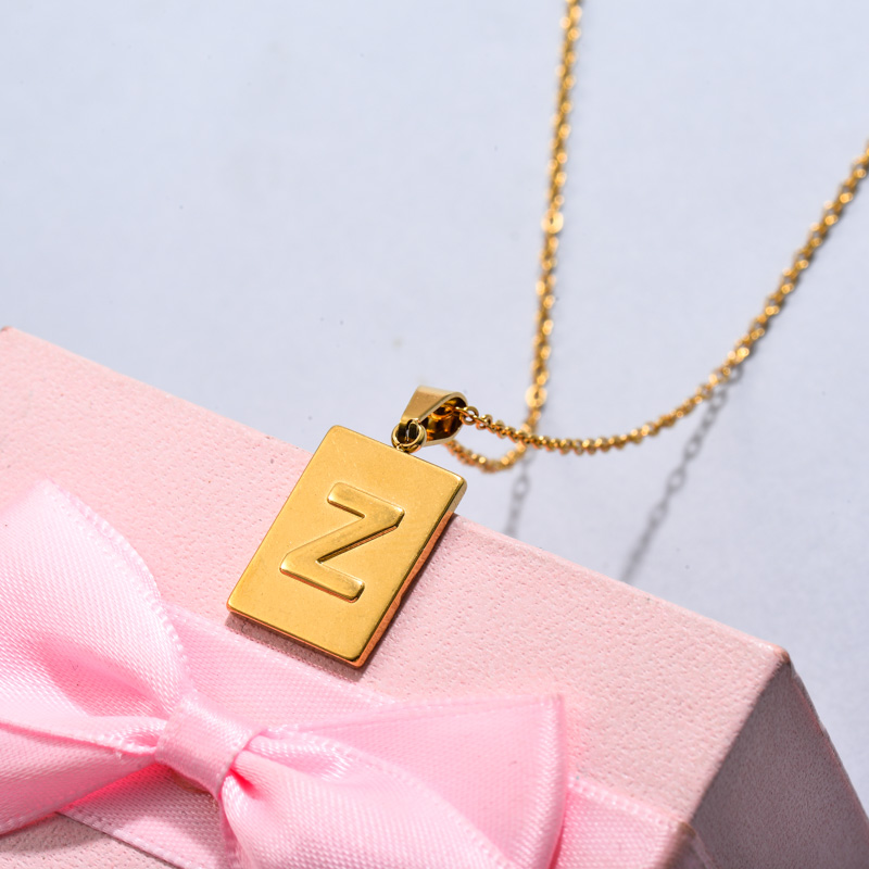 18k Gold Plated Personalized Rectangle Initial Letter Necklace SSNEG143-32461