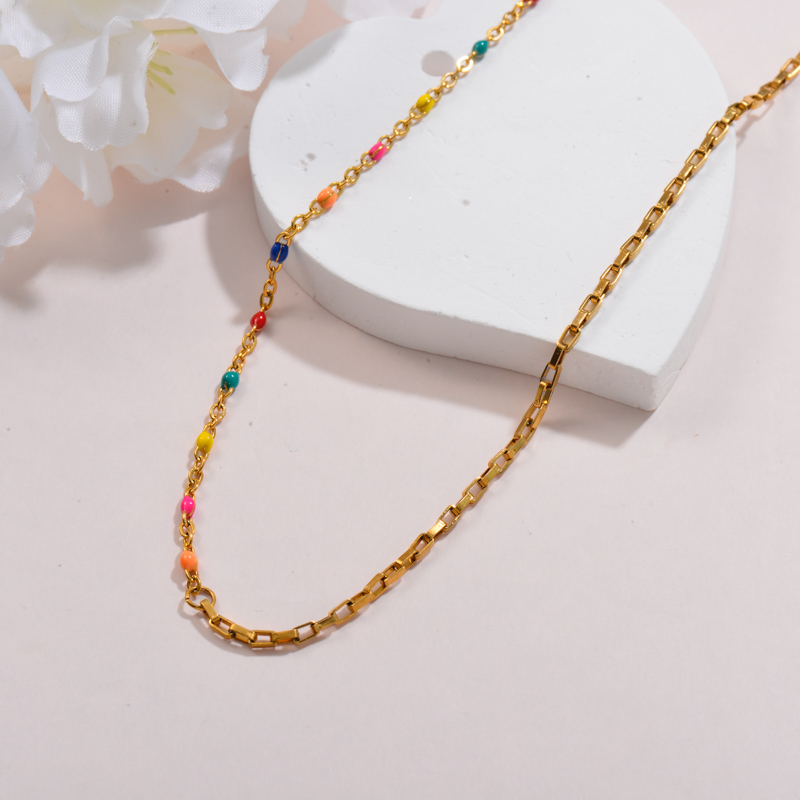 Stainless Steel Multi Color Beaded Chain Necklace -SSNEG142-32140