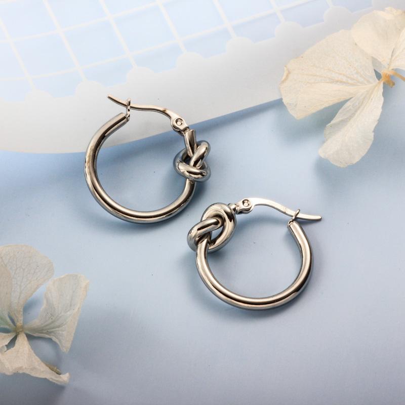 Stainless Steel Steel Color Minimalist Style Hoop Earrings -SSEGG143-32386