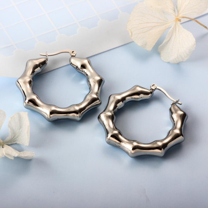 Stainless Steel Steel Color Minimalist Style Hoop Earrings -SSEGG143-32384