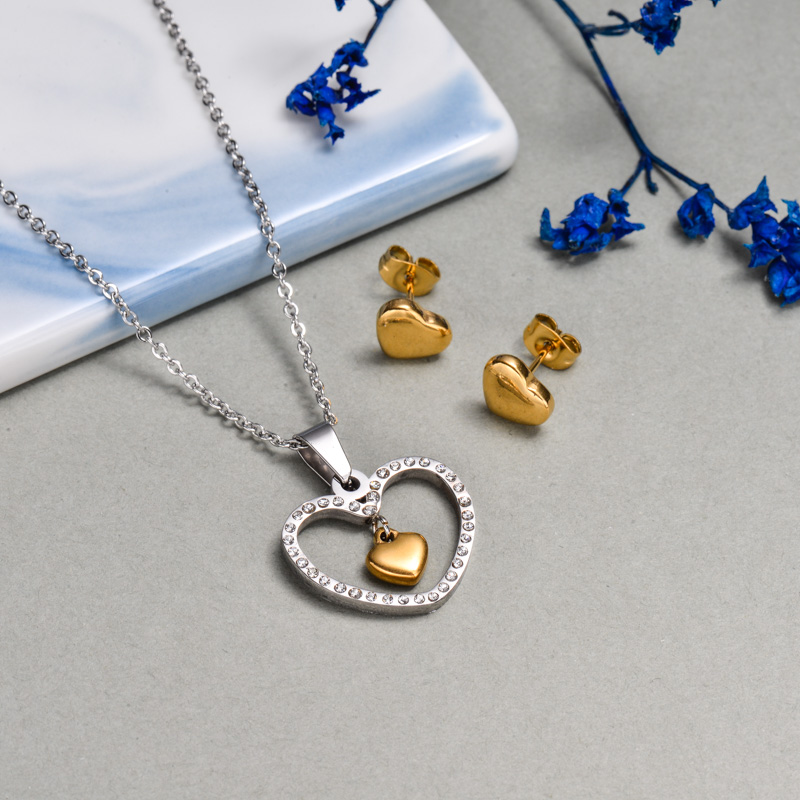 Stainless Steel Crystal Heart Jewelry Sets -SSCSG143-32641