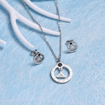 Stainless Steel Roman Numerals Jewelry Sets-SSCSG143-12597-S