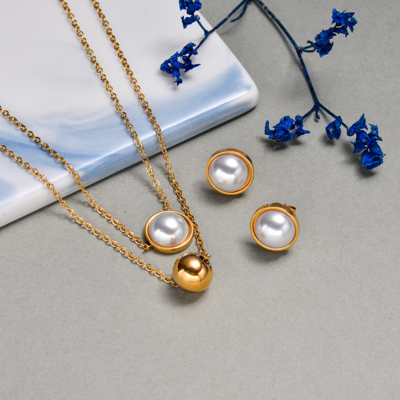 18K Gold Plated Pearl Layered Necklace Sets -SSCSG143-21940-G
