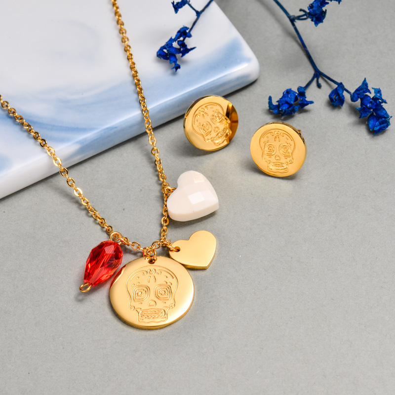 18k Gold Plated Skull Jewelry Sets -SSCSG143-32643