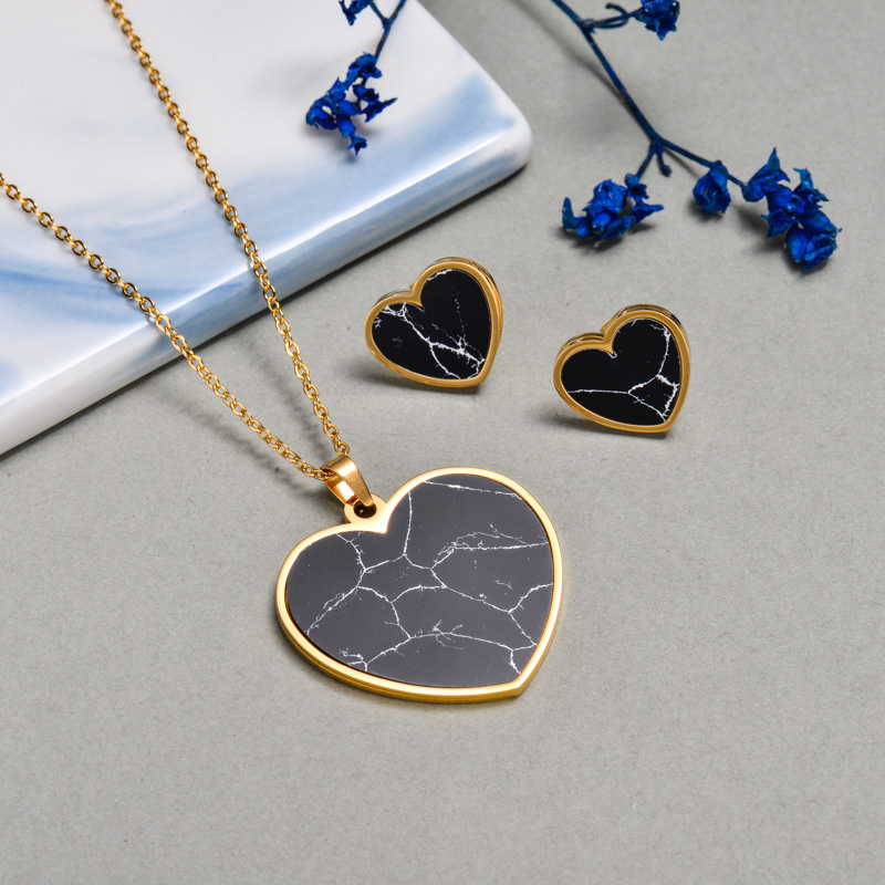 Stainless Steel Black Onyx Heart Jewelry Sets -SSCSG143-24590