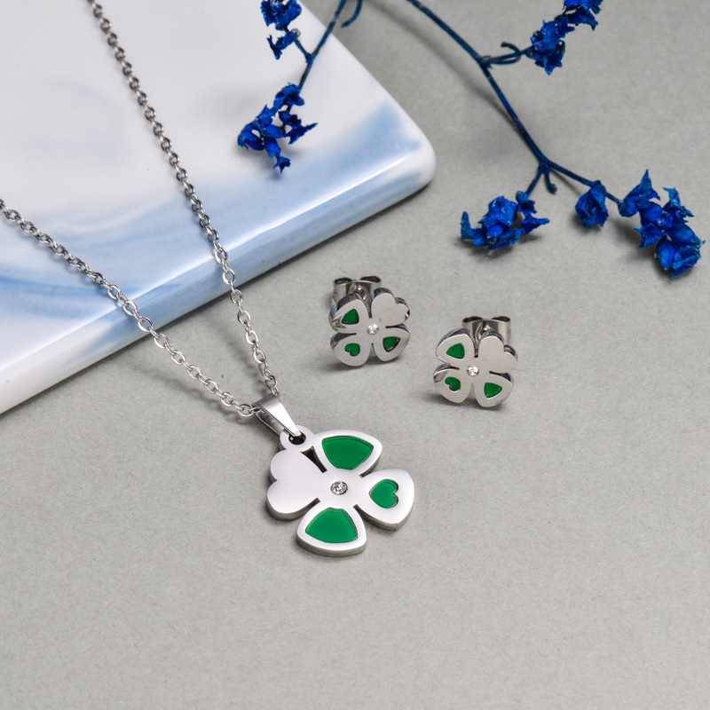 Stainless Steel Green Flower Jewelry Sets -SSCSG143-13039