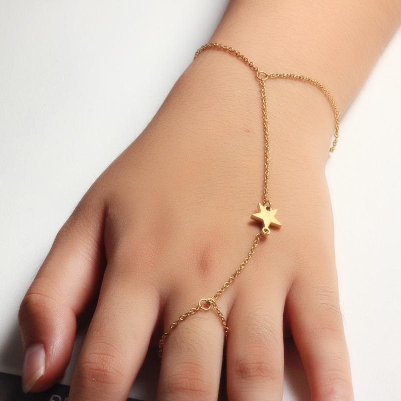 18K Gold Plated Bracelet Connected Ring Chain-SSBTG142-32647