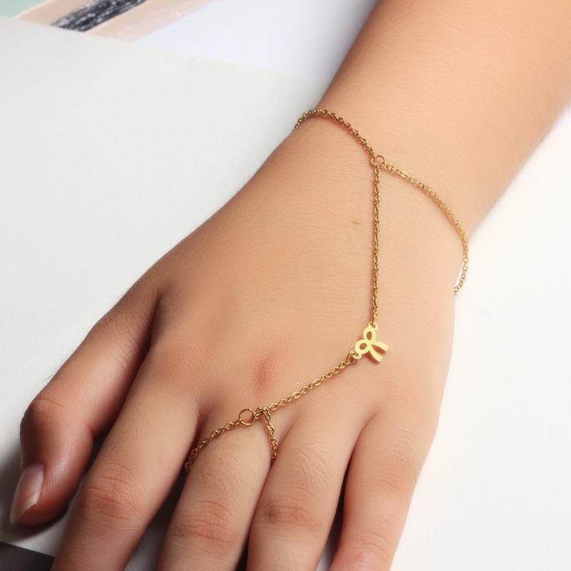 18K Gold Plated Bracelet Connected Ring Chain-SSBTG142-32648