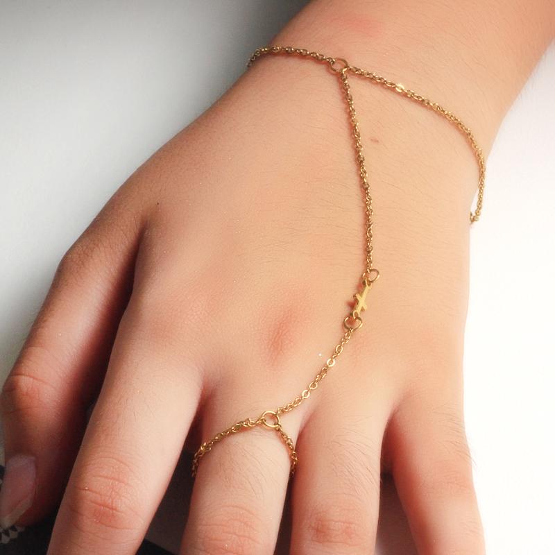 18K Gold Plated Bracelet Connected Ring Chain-SSBTG142-32650