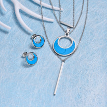 Stainless Steel Three Layered Turquoise Necklace Sets -SSCSG143-32618