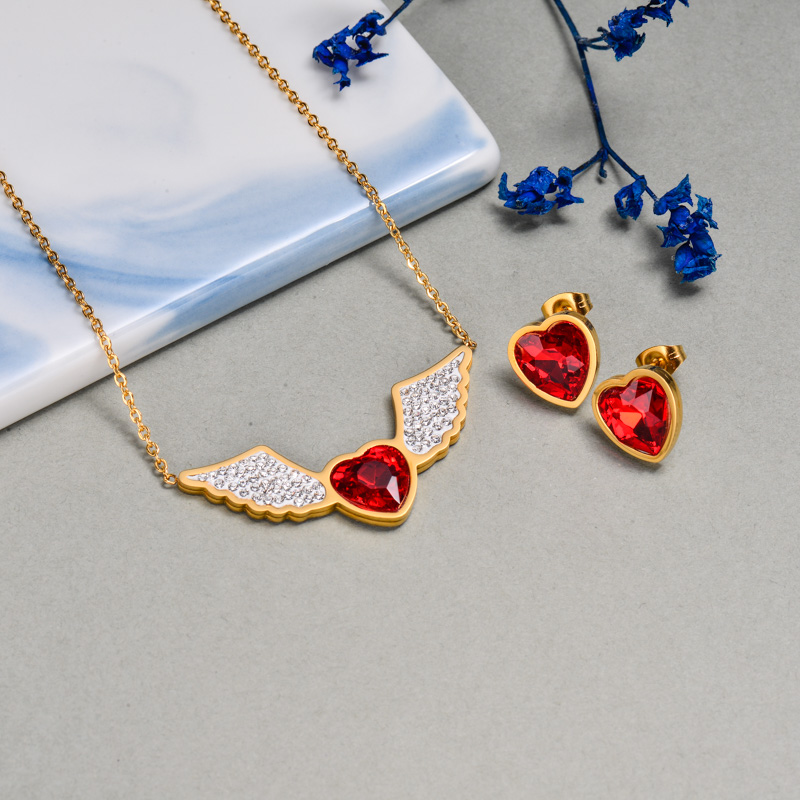 18k Gold Plated Angel Wing Red Heart Jewelry Sets -SSCSG143-32639