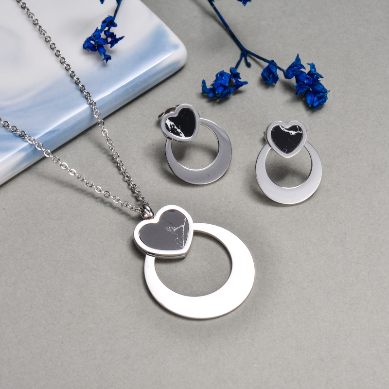 Stainless Steel Black Onyx Heart Jewelry Sets -SSCSG143-32640