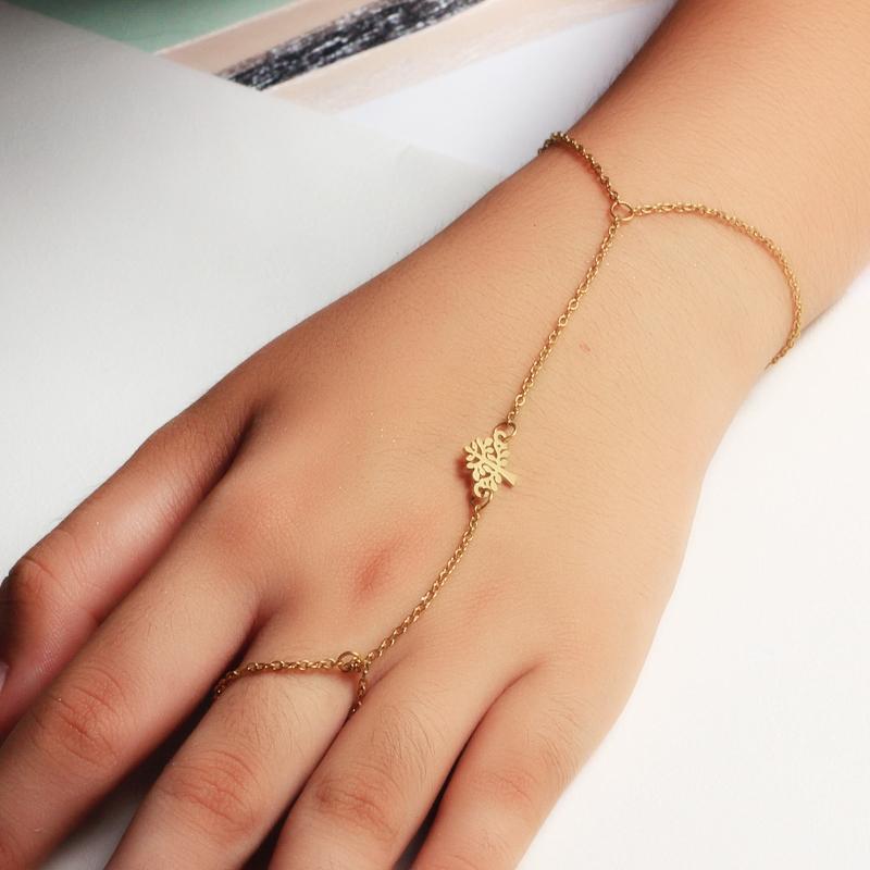 18K Gold Plated Bracelet Connected Ring Chain-SSBTG142-32649