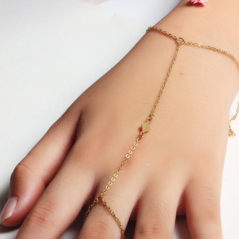 18K Gold Plated Bracelet Connected Ring Chain-SSBTG142-32652