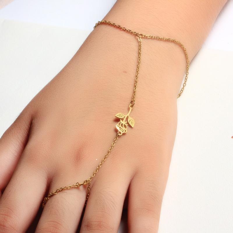 18K Gold Plated Bracelet Connected Ring Chain-SSBTG142-32653