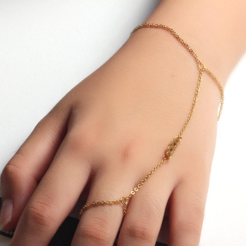 18K Gold Plated Bracelet Connected Ring Chain-SSBTG142-32646