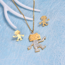 18k Gold Plated Crystal Robot Jewelry Sets SSCSG143-10276