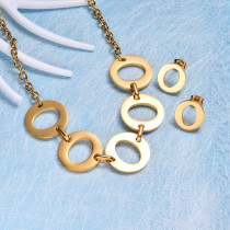 Stainless Steel Statement Necklace Sets -SSCSG143-21941-G