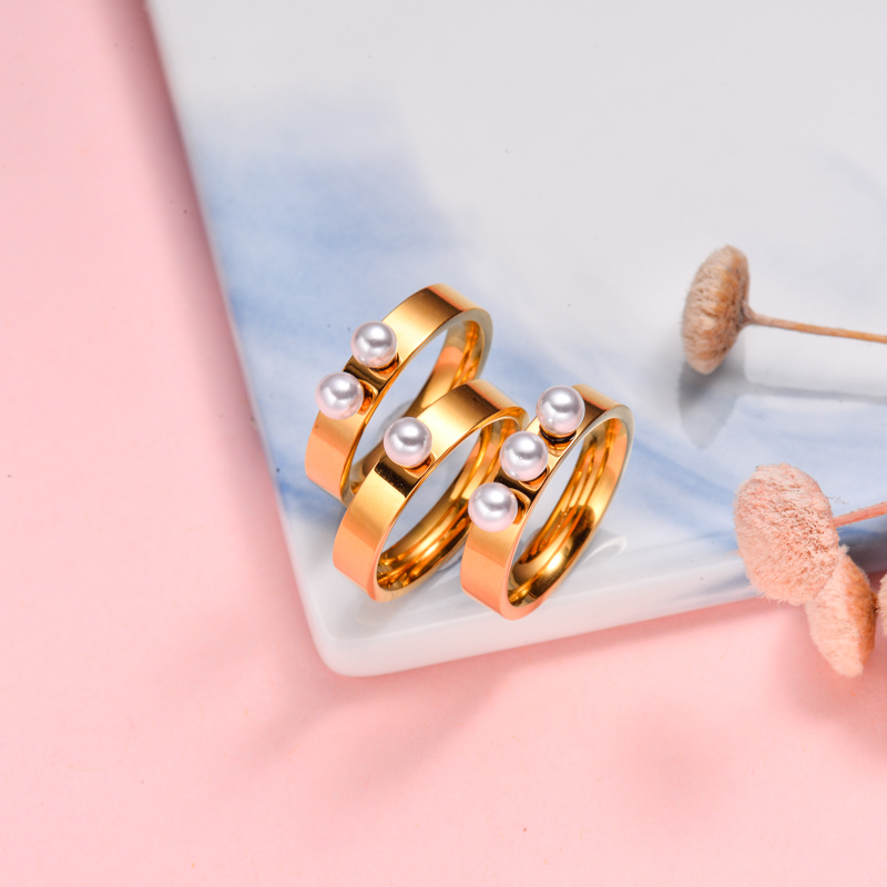 18k Gold Plated Pearl Ring Sets -SSRGG143-32503