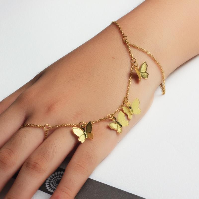 18K Gold Plated Bracelet Connected Ring Chain-SSBTG142-32644